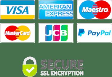 Credit Card logos and SSL secure