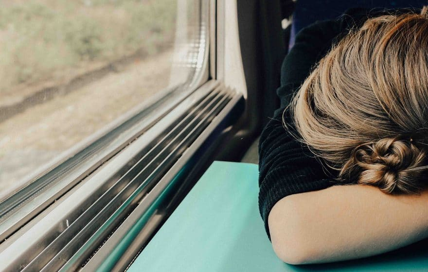 girl tired in a train