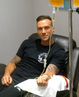 calum best at iv boost uk's clinic