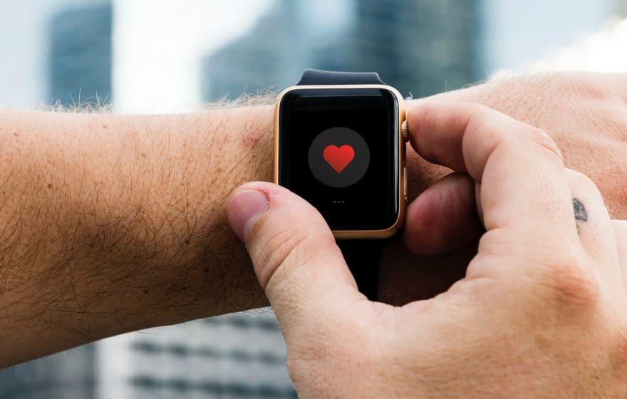 smartwatch showing a heart