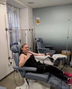 Cathy Brown having an IV drip at IVBOOST UK