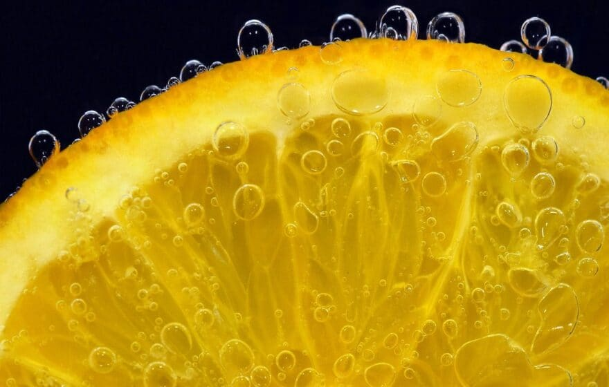 Close Up of Orange Slice Underwater